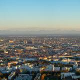 München Panorama Skyline mit Alpen