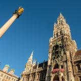 Marienplatz München mit Mariensäule und Rathaus